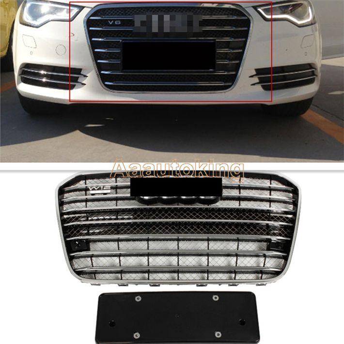 グリル ChomeフレームフロントメッシュグリルバンパーグリルガードフィットアウディA6 C7 S6 Facelift Chome Frame Front Mesh Grill Bumper Grille Guard Fit for Audi A6 C7 S6 Facelift