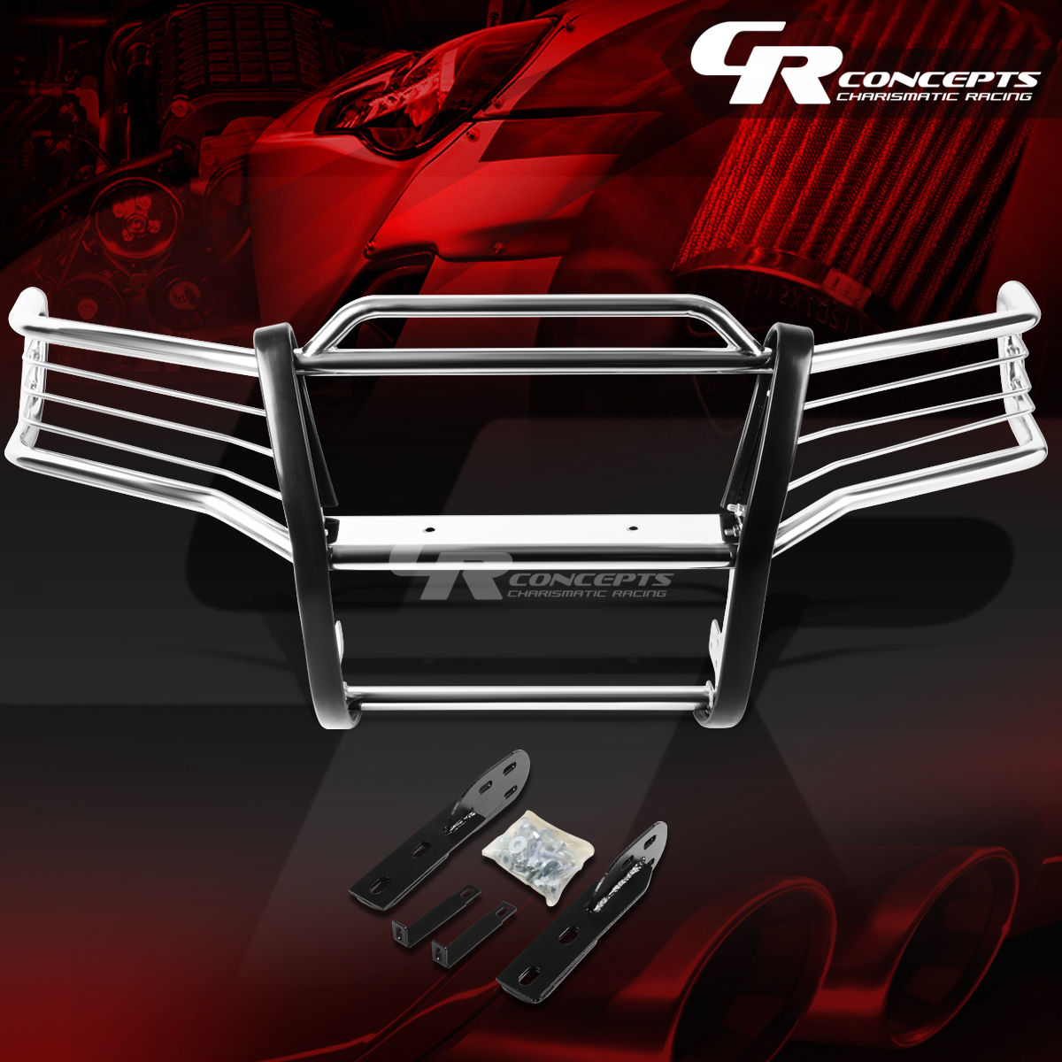 グリル クロムステンレススチールブラシグリルガードフレーム01-05 EXPLORER SPORT TRAC V6 CHROME STAINLESS STEEL BRUSH GRILL GUARD FRAME FOR 01-05 EXPLORER SPORT TRAC V6