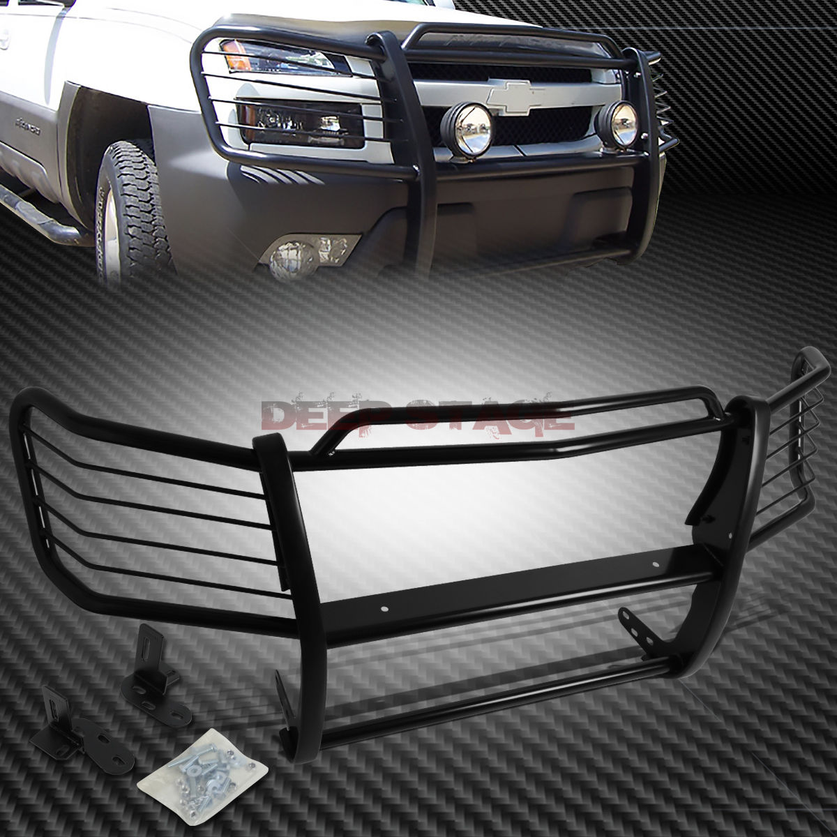 グリル カーボンストレートフロントバンパーブラシグリルガード(02-06)AVALANCHE W / CLADDING CARBON STEEL FRONT BUMPER BRUSH GRILLE GUARD FOR 02-06 AVALANCHE W/ CLADDING