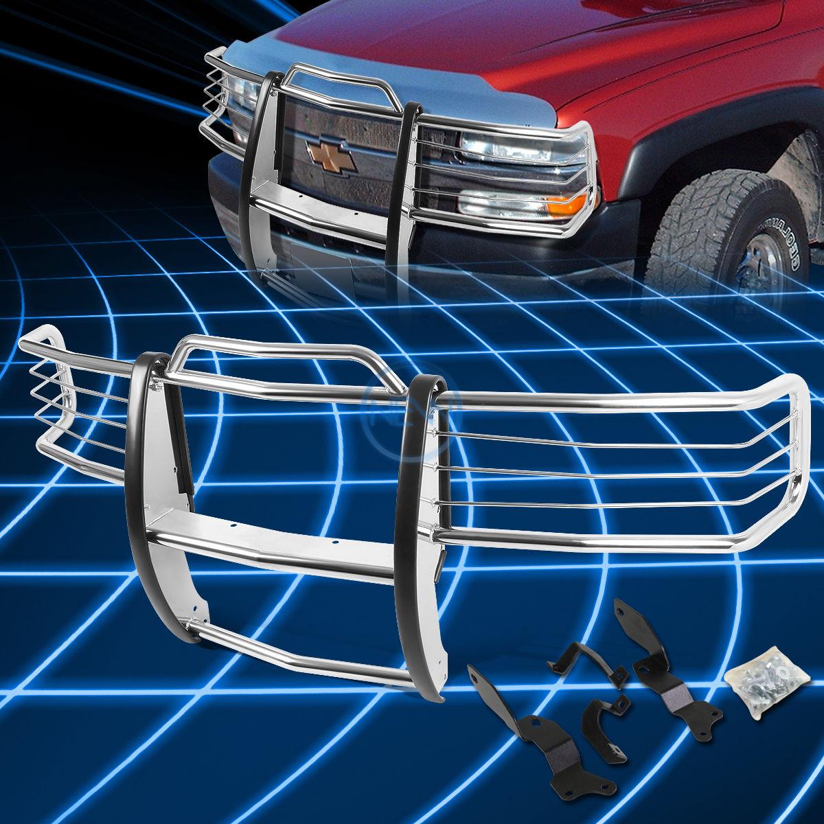 グリル 2001-2007 Silverado 1500-3500 HD用クロームブラシバンパープロテクターグリルガード Chrome Brush Bumper Protector Grille Guard for 2001-2007 Silverado 1500-3500 HD