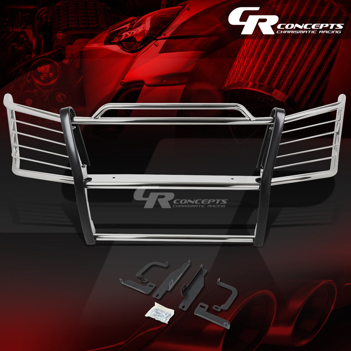 グリル クロムステンレススチールブラシグリルガード炎03-07 SILVERADO 1500HD / 2500 CHROME STAINLESS STEEL BRUSH GRILL GUARD FLAME FOR 03-07 SILVERADO 1500HD/2500