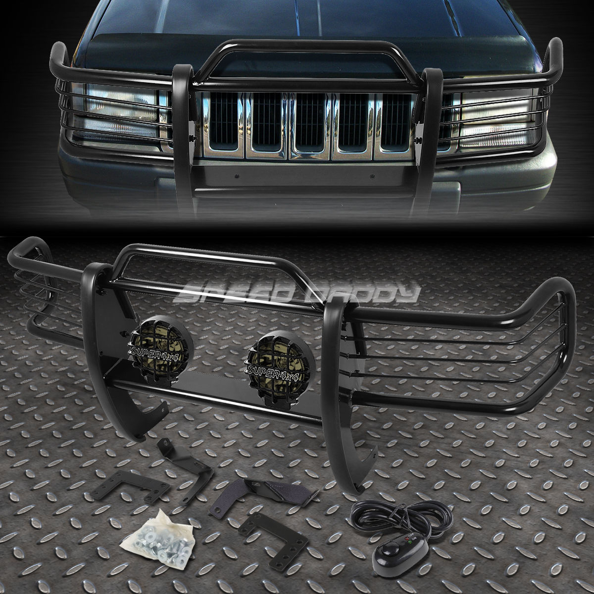 グリル ブラックブラッシュグリルガード+ラウンドソーキーフォグライトfor 933-98 JEEP GRAND CHEROKEE ZJ BLACK BRUSH GRILLE GUARD+ROUND SMOKE FOG LIGHT FOR 93-98 JEEP GRAND CHEROKEE ZJ