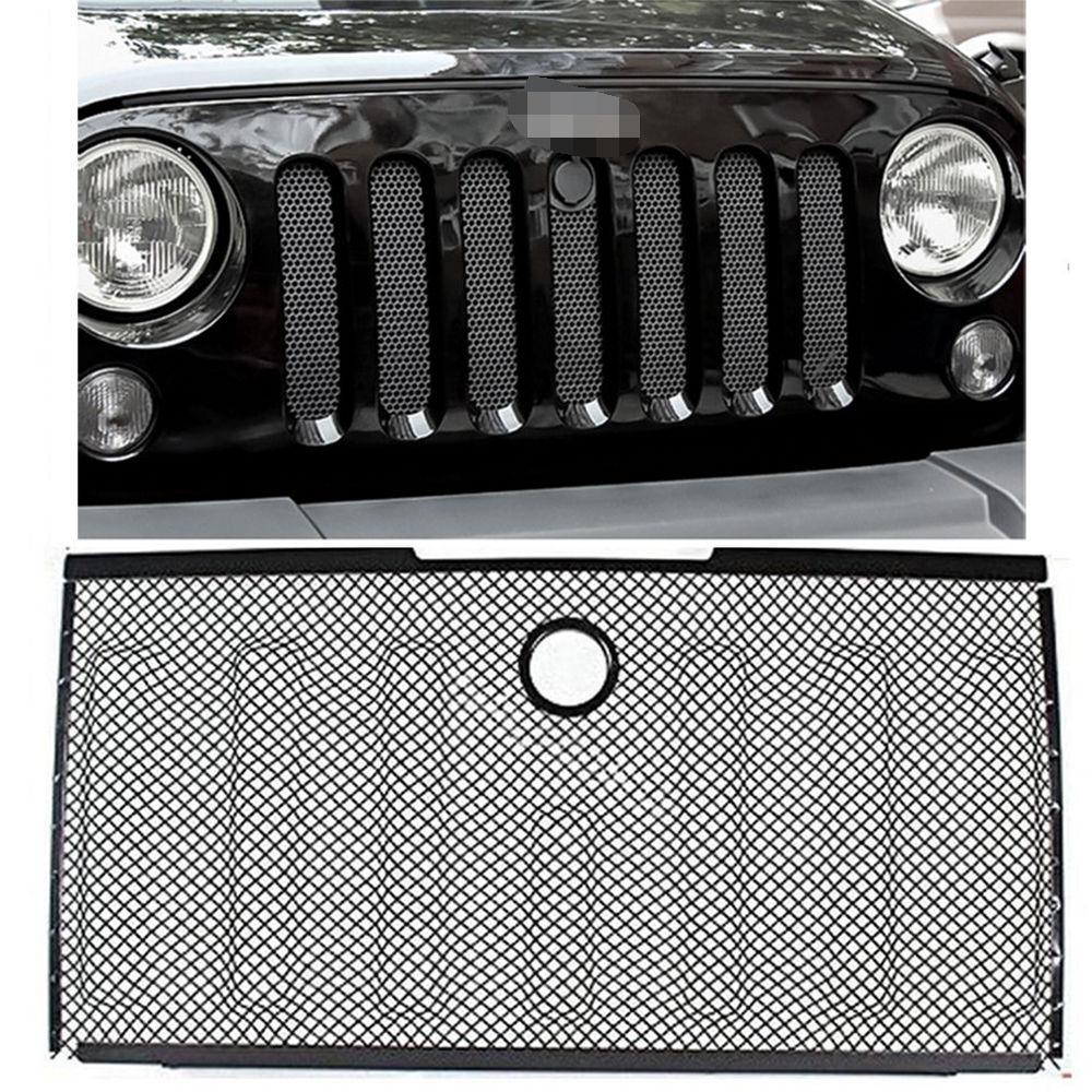 グリル ブラックメッシュグリルガードグリルクロムインサート/ロック穴付き07-15ジープラングラー Black Mesh Grille Guard Grill Chrome Insert w/ Lock Hole For 07-15 Jeep Wrangler