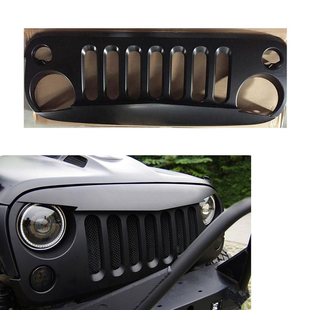 グリル STマットブラックフロントグリルグリッドカバーガードインサートfor 07-2015ジープラングラー ST Matte Black Front Grille Grid Cover Guard Inserts For 07-2015 Jeep Wrangler