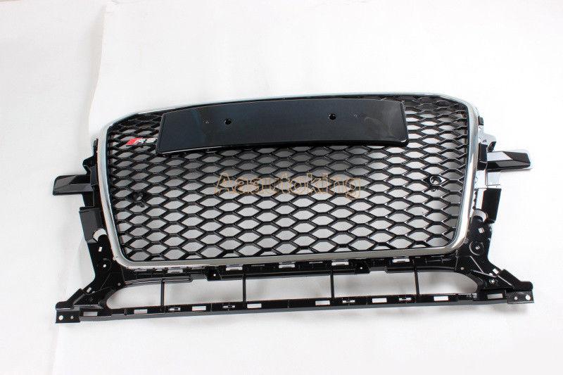 グリル フロントバンパークロームグリルブラックハニカムメッシュフードグリルフィットアウディQ5 13-14 Front Bumper Chrome Grille Black Honeycomb Mesh Hood Grill Fit for Audi Q5 13-14