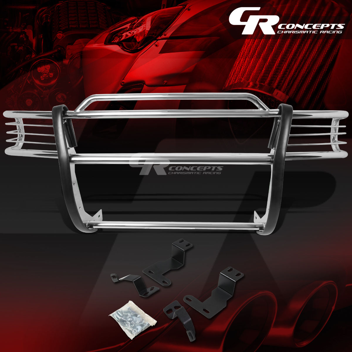グリル クロムステンレスブラシグリルガード炎97-04 DAKOTA / 98-03 DURANGO CHROME STAINLESS STEEL BRUSH GRILL GUARD FLAME FOR 97-04 DAKOTA/98-03 DURANGO