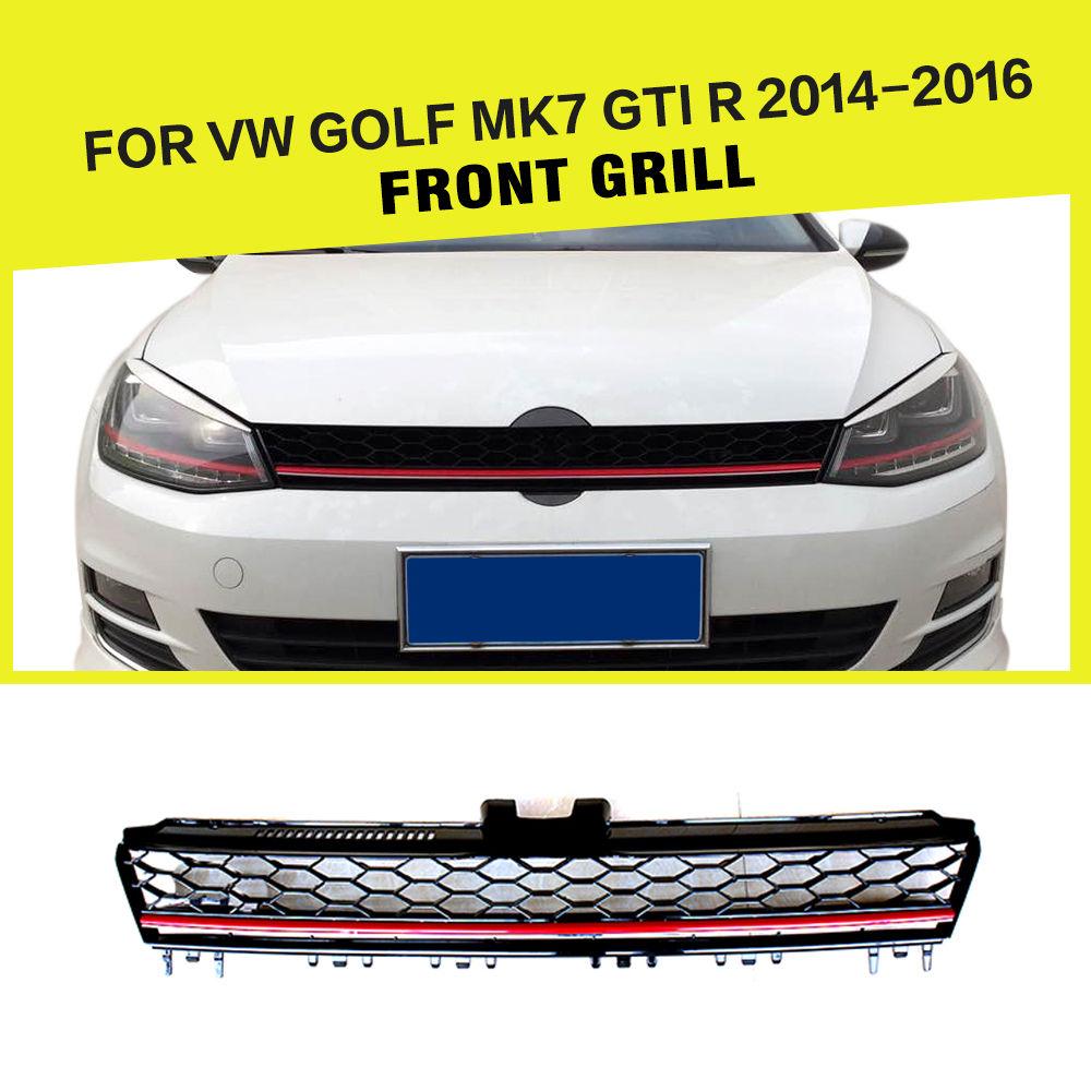グリル ABSオートフロントバンパーグリルメッシュグリルはVW GOLF 7 MK7 VII GTI R 14-16に適合 ABS Auto Front Bumper Grills Mesh Grilles Fit for VW GOLF 7 MK7 VII GTI R 14-16