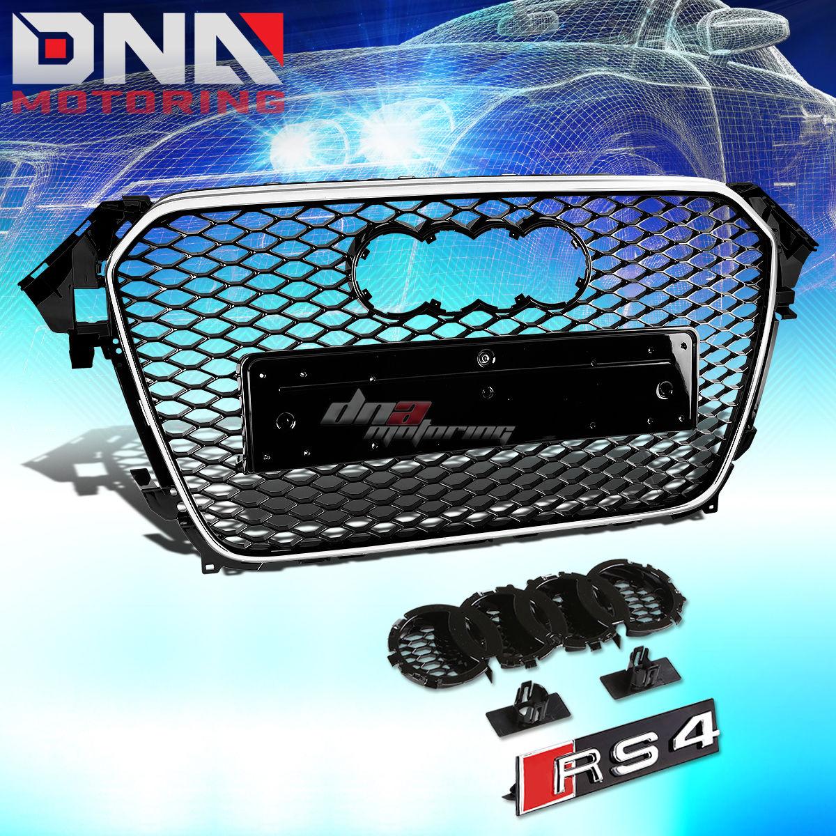 グリル FOR 13-16 AUDI A4 / S4 B8.5ブラックABSフロントスタイルフロントバンパーメッシュグリルガード FOR 13-16 AUDI A4/S4 B8.5 BLACK ABS RS STYLE FRONT BUMPER UPPER MESH GRILL GUARD