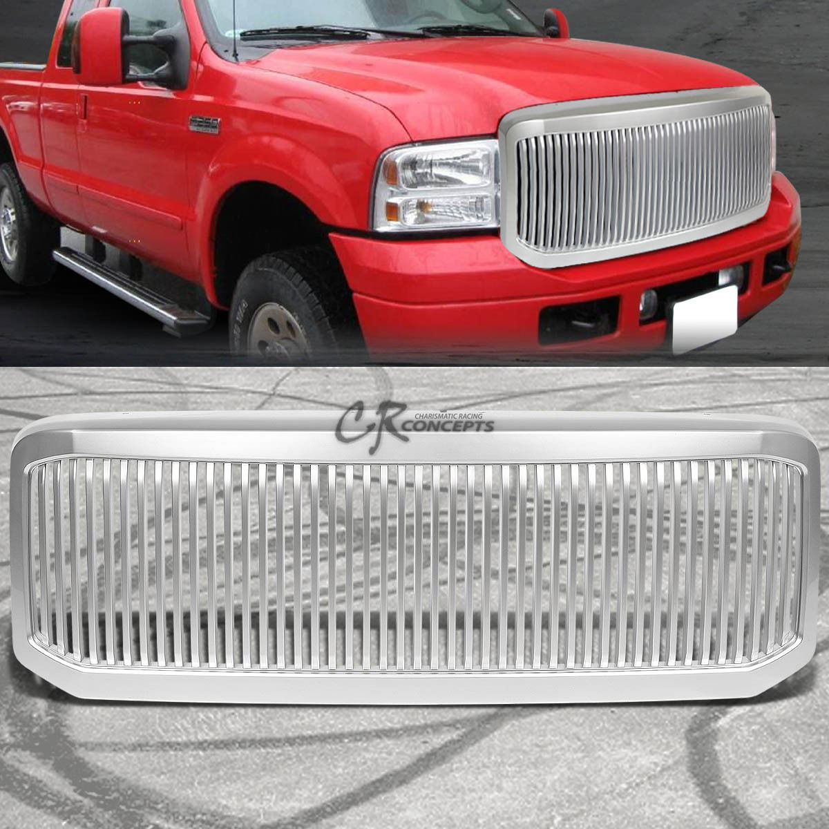 グリル FOR 05-07 FORD F250 / F350スーパーデューティシルバー前面交換グリル/グリルガード FOR 05-07 FORD F250/F350 SUPER DUTY SILVER FRONT REPLACEMENT GRILL/GRILLE GUARD