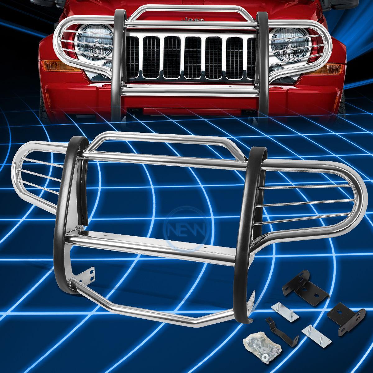 グリル 2002-2007ジープリバティーKJ SUVのためのクロームブラシバンパープロテクターグリルガード Chrome Brush Bumper Protector Grille Guard for 2002-2007 Jeep Liberty KJ SUV
