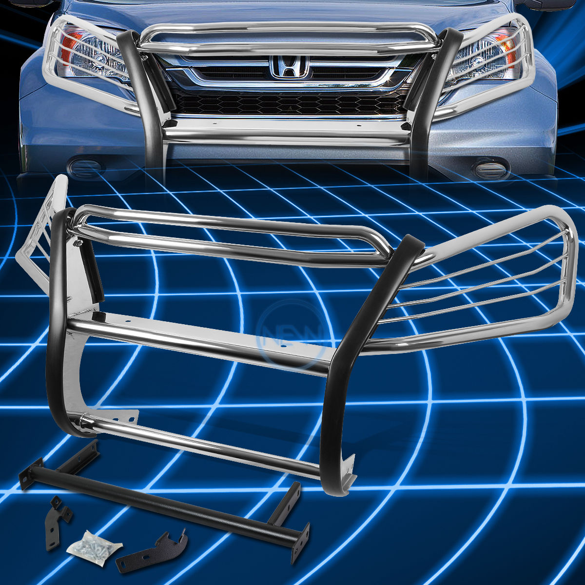 グリル クロームブラシバンパープロテクターグリルガード(ホンダCRV / CR-V RE SUV) Chrome Brush Bumper Protector Grille Guard for 2007-2011 Honda CRV/CR-V RE SUV
