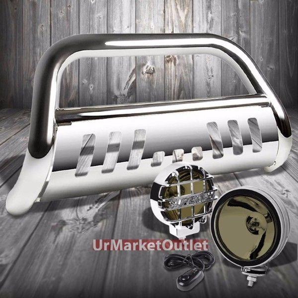 グリル クロームブルグリルガード+クロムハウス煙霧ライト11-16グランドチェロキー Chrome Bull Grille Guard+Chrome House Smoke Fog Light For 11-16 Grand Cherokee
