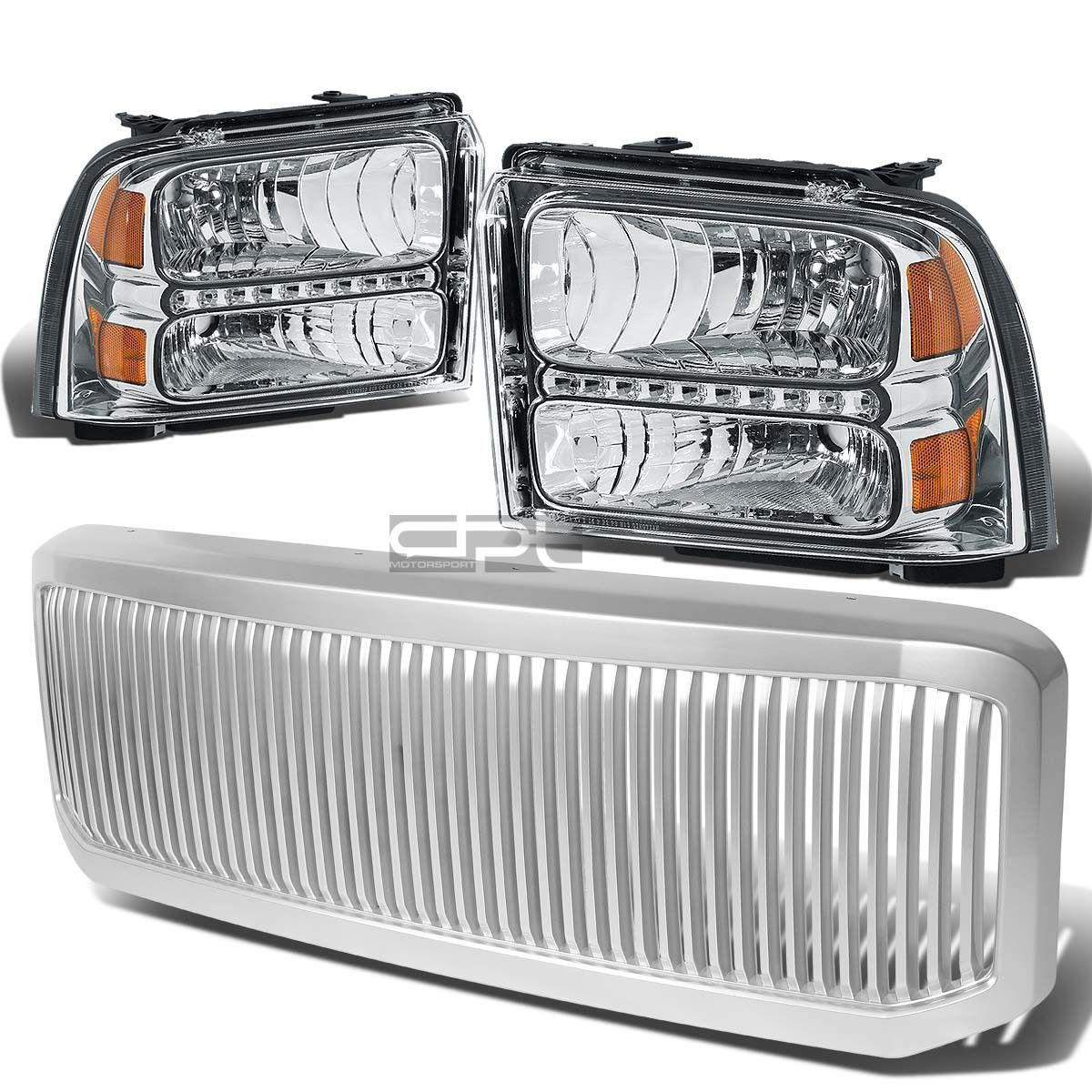 グリル 05-07のためのスーパーライトヘッドライト+ LED + アンバーバッフアライト+グリルガードカバー FOR 05-07 SUPERDUTY CHROME HEADLIGHT+LED+AMBER BUMPER LIGHT+GRILL GUARD COVER