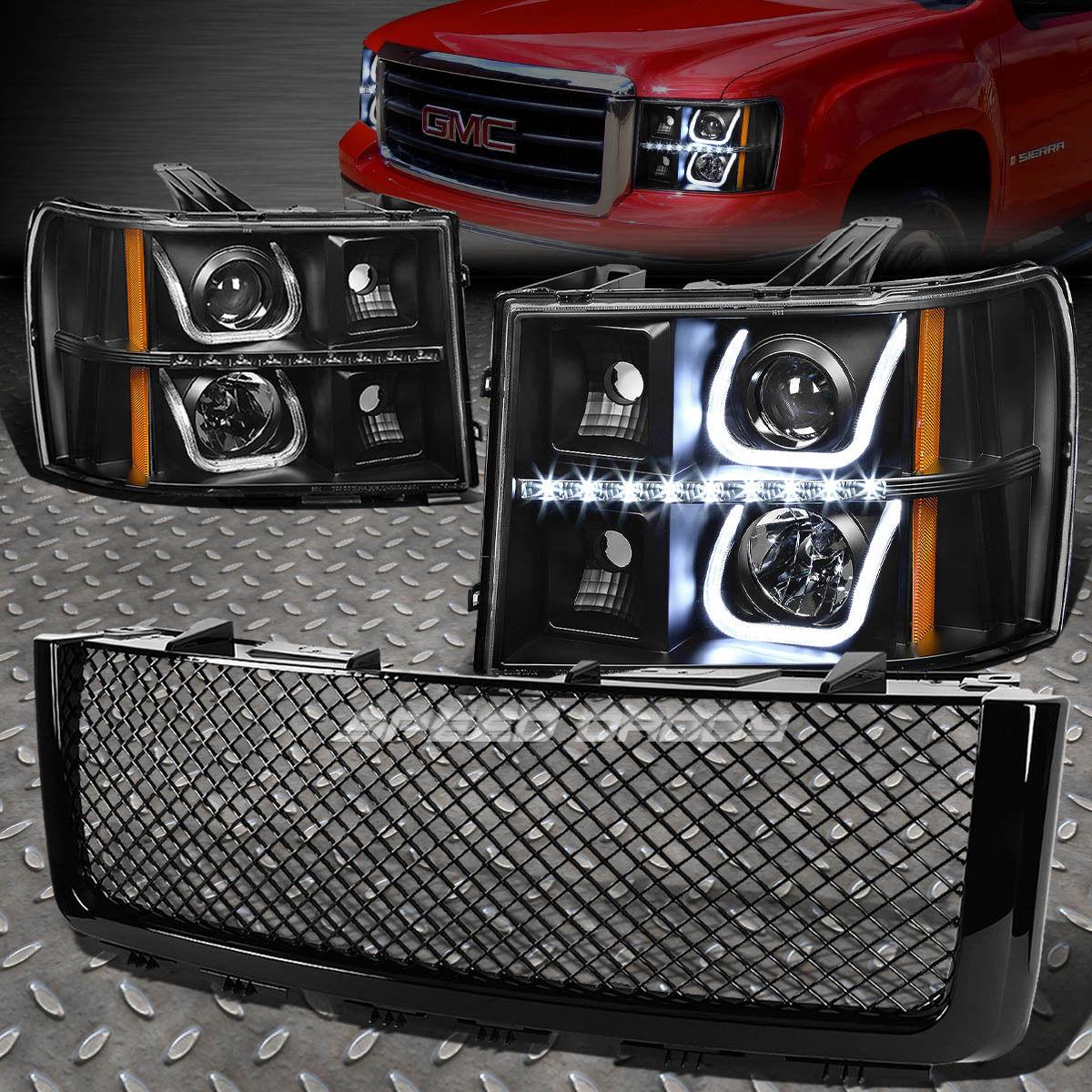 グリル BLACK HALOプロジェクターヘッドライト+ BUMP ER信号+ LED + MES  07 + SIERRA用Hグリルガード BLACK HALO PROJECTOR HEADLIGHT+BUMPER SIGNAL+LED+MESH GRILLE GUARD FOR 07+SIERRA