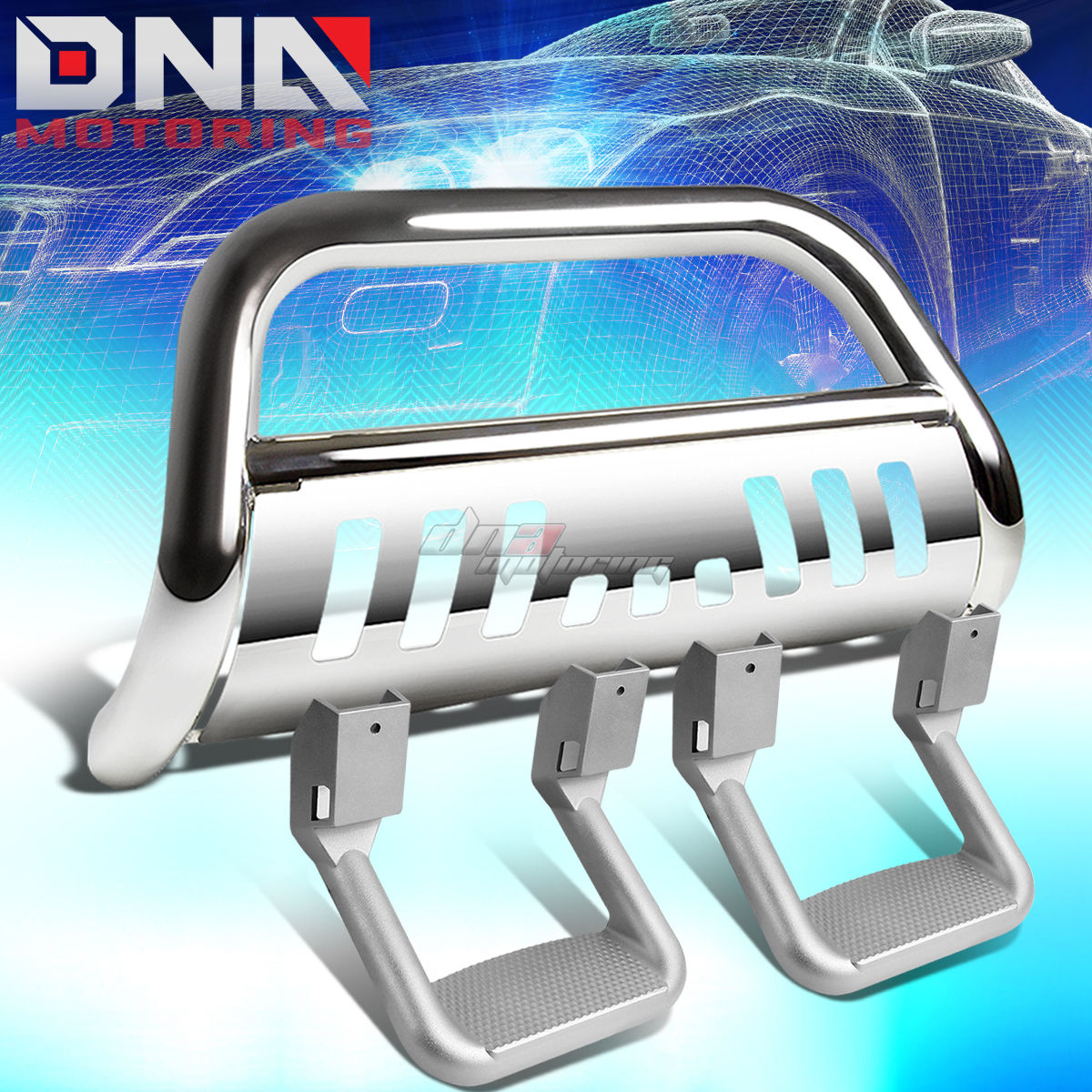 グリル CHROME BULL BARバンパーガード+サイドアシストステップフィット88-00 CHEVY C / K C10 / SUBURBAN CHROME BULL BAR BUMPER GUARD+SIDE ASSIST STEP FIT 88-00 CHEVY C/K C10/SUBURBAN
