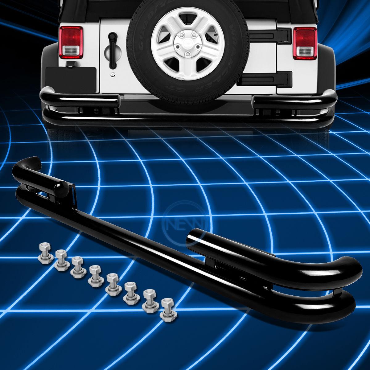 グリル ブラックコーティングスチールダブルパイプバーリアバンパーガード1988-2006ジープラングラー Black Coated Steel Double Pipe Bar Rear Bumper Guard for 1988-2006 Jeep Wrangler