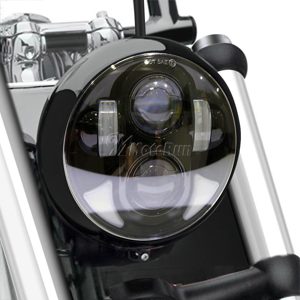 ハーレー ヘッドライト ブラック5.75 5 3/4オートバイプロジェクターハーレーデー用LED電球ヘッドライト Black 5.75 5 3/4 Motorcycle Projector LED Light Bulb Headlight For Harley Day