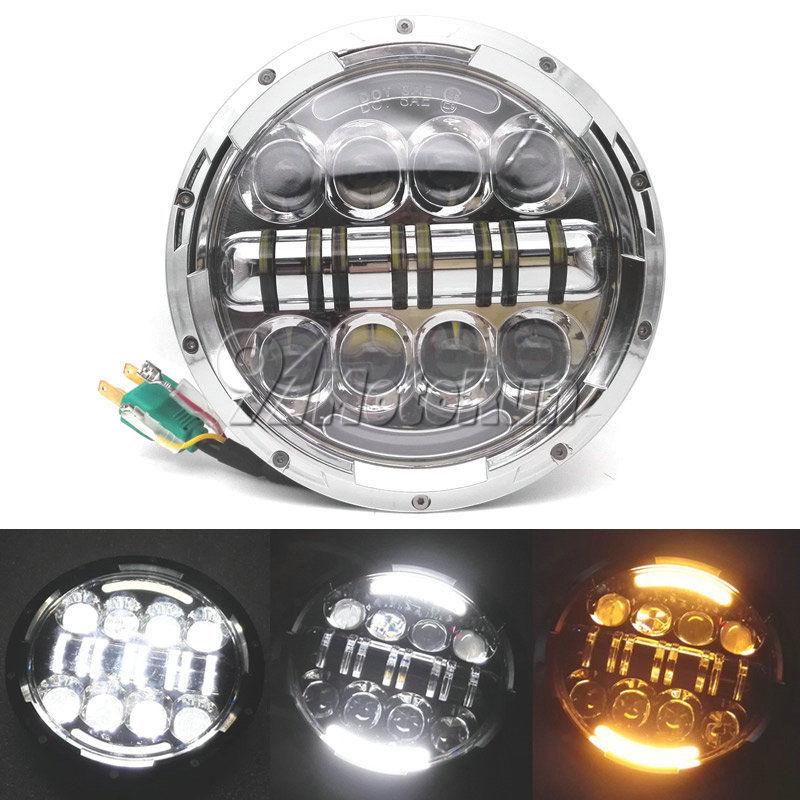 "DOT 7/"" INCH LED Headlight Projector Black  for Harley Street Glide Softail FLHX"