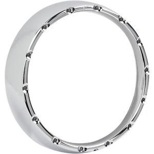 ヘッドライト アーレンネスクロームファイアーリングヘッドライトベゼルW /ホワイトLedランニングライト14-16 Arlen Ness Chrome Fire Ring Headlight Bezel W/ White Led Running Lights 14-16