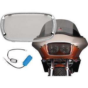 ヘッドライト サイクルイルミネーションChromeイルマベゼルヘッドライトベゼルスモークレンズハーレーロードグライド用 Cycle Visions Chrome Illumabezel Headlight Bezel Smoke Lens for Harley Road Glid