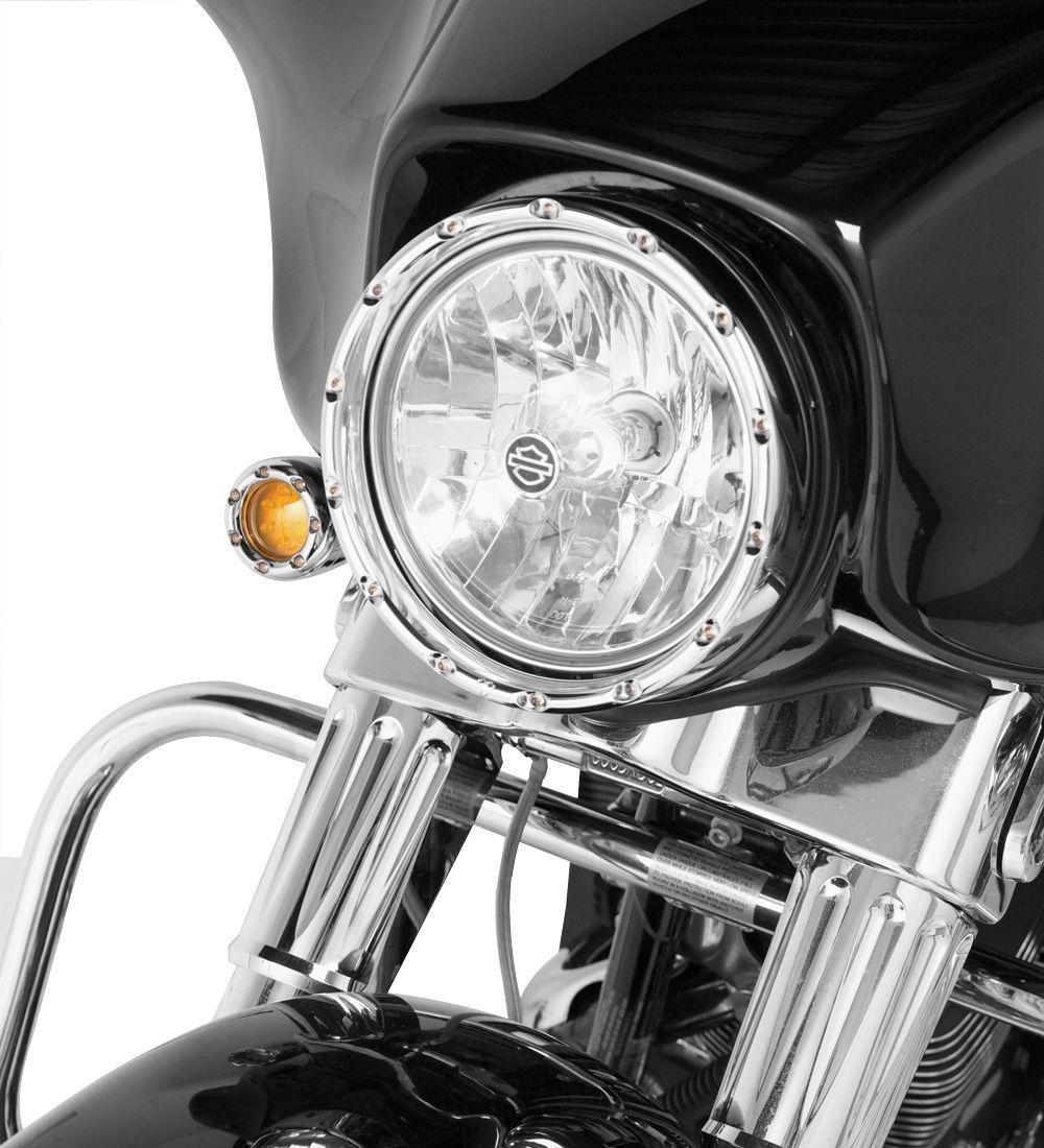 ヘッドライト ネリス・クロム・ファイアリング・ヘッドライト・ベゼル7インチ・ホワイトLED 08-404フラックス・フラット・フラー・バッガー NESS CHROME FIRE RING HEADLIGHT BEZEL 7