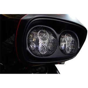 ヘッドライト ハーレーロードグライド用トラクタデュアルヘッドライトメッシュブラックグリルFLTR / X 98-13 Trask Dual Headlight Mesh Black Grilles for Harley Road Glide FLTR/X 98-13