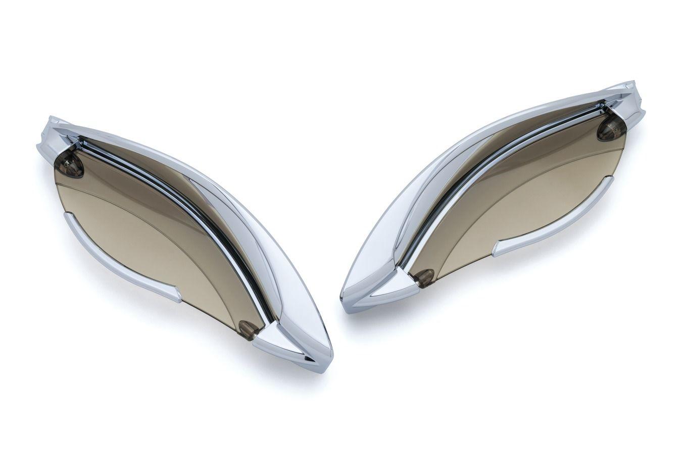風防 ハーレーバットウィング'14 -'17用のクアラキンクロム調節可能なフェアリングエアデフレクター Kuryakyn Chrome Adjustable Fairing Air Deflectors for Harley Batwing '14-'17