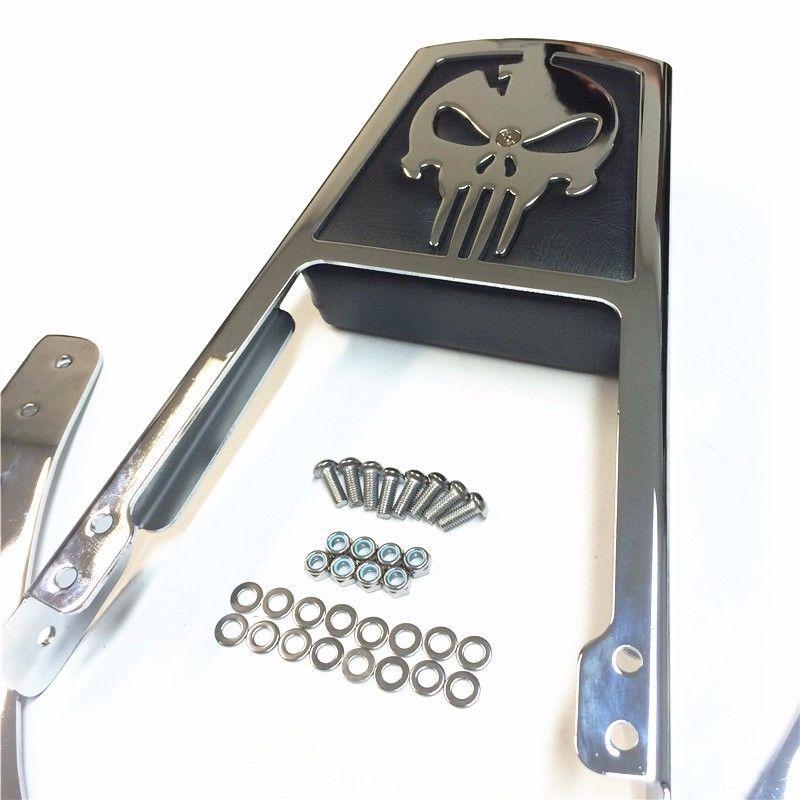 バックレスト 95-03ハーレーダビッドソンスポーツスター883 XL8のためのスカル背もたれSissyバーレザーパッド Skull Backrest Sissy Bar Leather Pad For 95-03 Harley Davidson Sportster 883 XL8