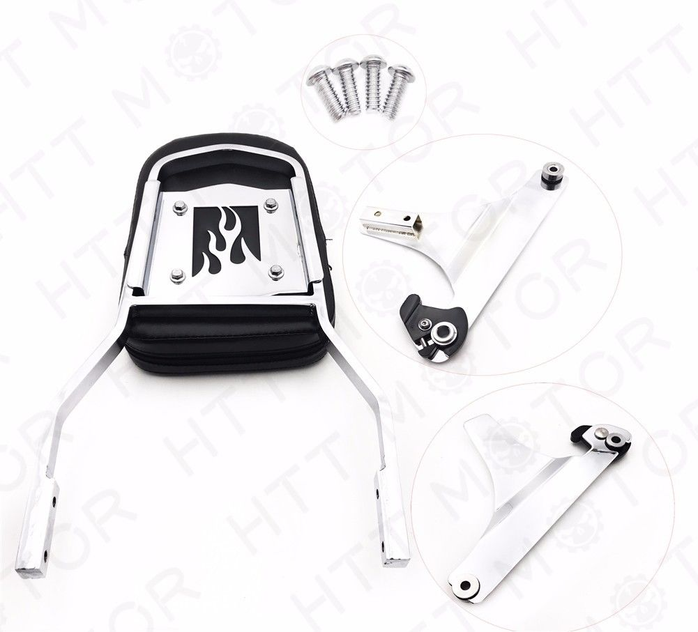 バックレスト 取り外し可能な背もたれSissyバーChrome Flame For 84-99 Harley Softail FXSTC FLSTC Detachable Backrest Sissy Bar Chrome Flame For 84-99 Harley Softail FXSTC FLSTC