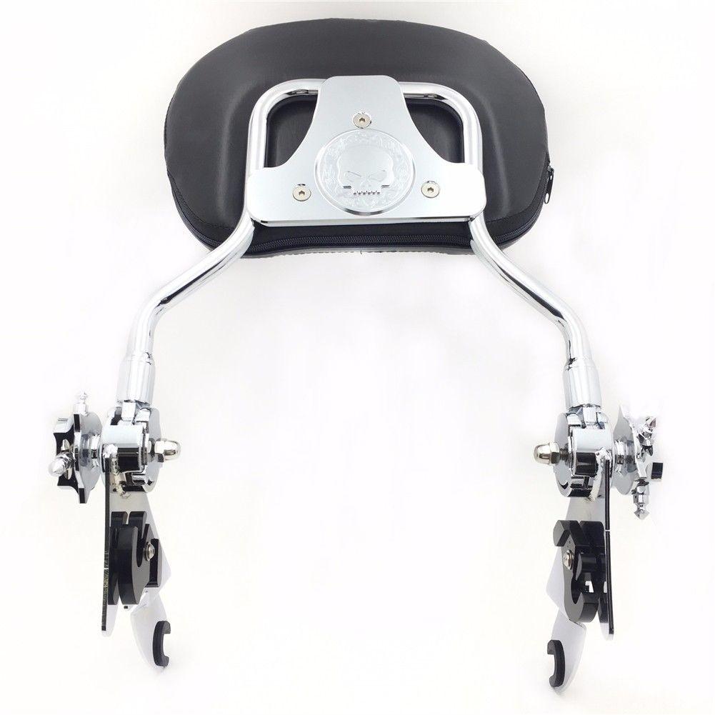 バックレスト '97 -'17 Harley Street Glide Chrome用スカルパッド付き調節可能なシシーバーバックレスト Adjustable Sissy Bar Backrest w/ Skull Pad For '97-'17 Harley Street Glide Chrom