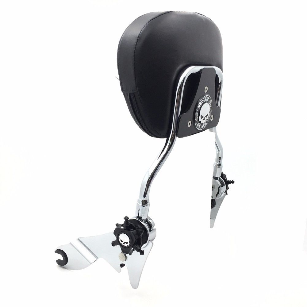 バックレスト '97 -'17 Harley FLHR Road King Bla用スカルパッド付き調節可能シシーバーバックレスト Adjustable Sissy Bar Backrest w/ Skull Pad For '97-'17 Harley FLHR Road King Bla