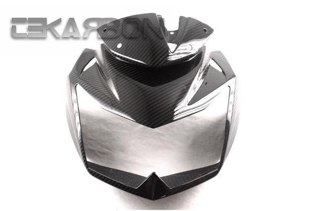 フェアリング kawasaki 2007 - 2011 Kawasaki Z750Rカーボンファイバーフロントフェアリング/ホール - 2x2ツイル 2007 - 2011 Kawasaki Z750R Carbon Fiber Front Fairing w/ Holes - 2x2 twill