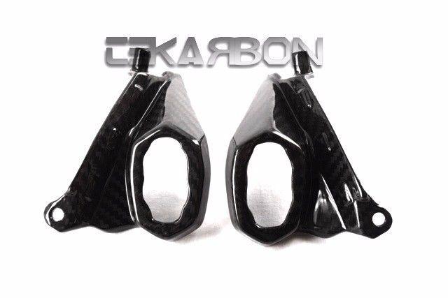 フェアリング kawasaki 2014年 - 2016年カワサキZ1000カーボンファイバーヘッドライトサイドカバー - 2x2ツイル織り 2014 - 2016 Kawasaki Z1000 Carbon Fiber Headlight Side Covers - 2x2 twill weaves