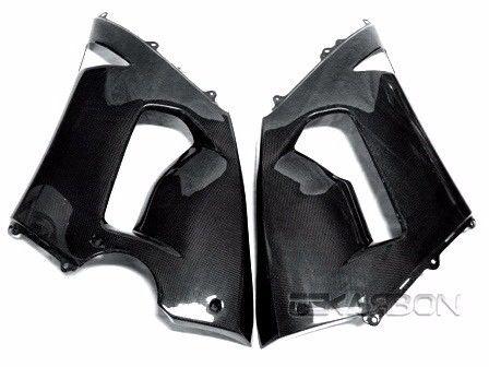 フェアリング kawasaki 2005年 - 2006年川崎ZX6R ZX 6Rカーボンファイバーラージサイドフェアリング - 1x1プレーン 2005 - 2006 Kawasaki ZX6R ZX 6R Carbon Fiber Large Side Fairings - 1x1 Plain