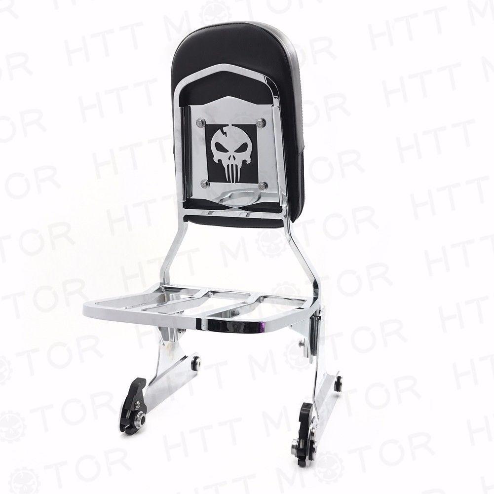 シーシーバー Harley ハーレーのための頭蓋骨の取り外し可能なシシバーの背もたれ荷台ラックFATBOY Softail FLSTN Skull Detachable Sissy Bar Backrest Luggage Rack for Harley FATBOY Softail FLSTN