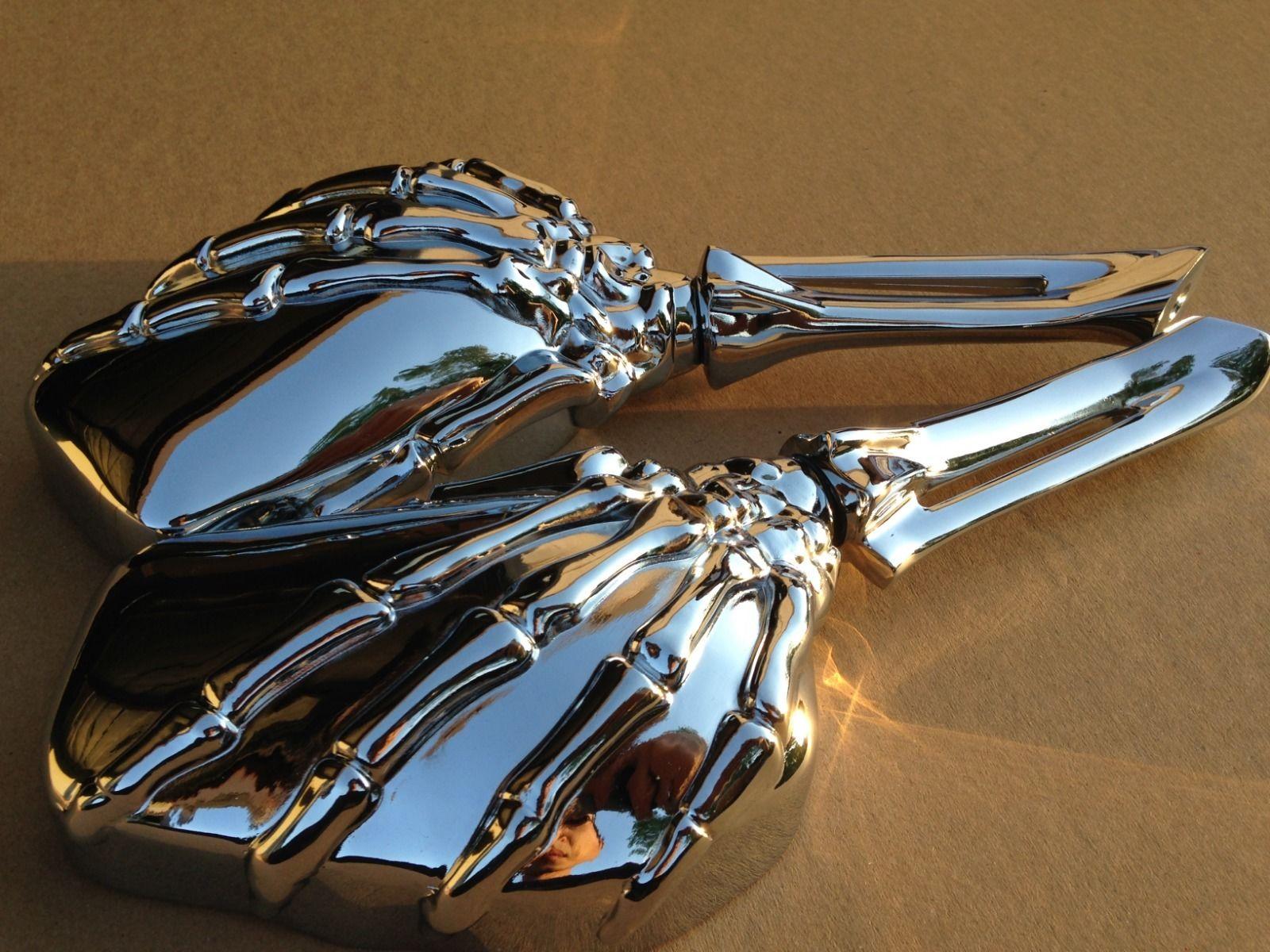 ミラー harley ハリー・ヘリテージ・スプリンター・スポーツスターダイナ・グライド・ソフテイルVロッドC Hand Skull Mirror Harley Heritage Springer Sportster Dyna Glide Softail V Rod C