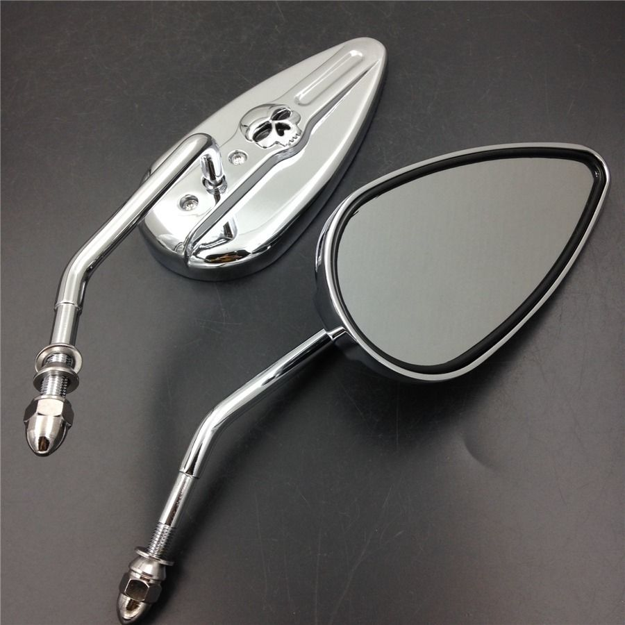 ミラー harley ハーレースポーツスターFXEローライダーFXSB FXWGに適合するクロームアルミスカルミラー Chromed Aluminum Skull Mirrors Fit For Harley Sportster FXE Low Rider FXSB FXWG