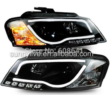 USヘッドライト[右ハンドル・日本仕様]Audi A3 LEDヘッドライト、プロジェクターレンズ付き2008年?2012年SN For Audi A3 LED Head Light with projector lens 2008-2012 Year SN Black Housing