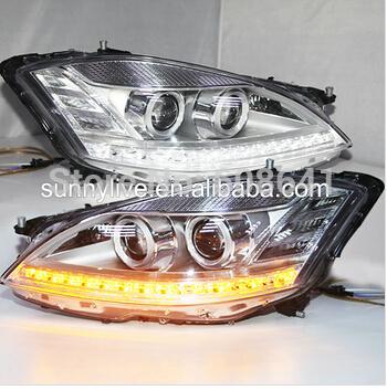 USヘッドライト[右ハンドル・日本仕様]メルセデス・ベンツSクラスW221用DRL LEDヘッドライト2006-2009年クロ For Mercedes-Benz S class W221 DRL LED Head Light 2006-2009 Year Chrome Housing LF
