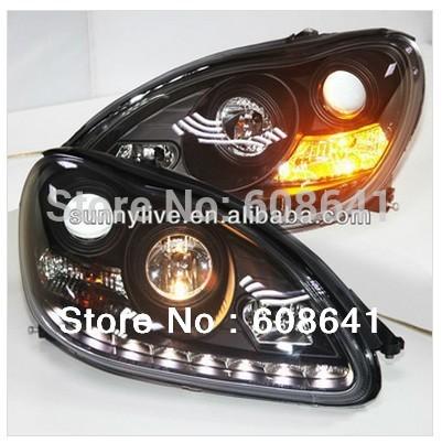USヘッドライト[右ハンドル・日本仕様]メルセデスベンツW220 S280 S320 S500 S600ヘッドランプエンジェル For Mercedes-Benz W220 S280 S320 S500 S600 Head Lamp Angel Eyes 1998 to 05 Black Type