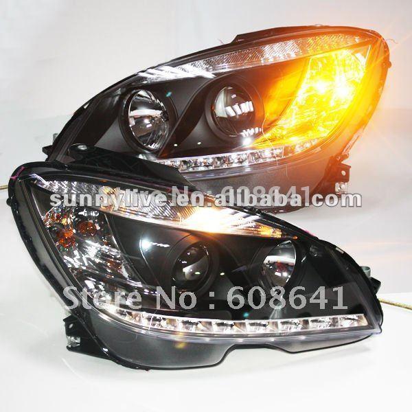 USヘッドライト[右ハンドル・日本仕様]メルセデス・ベンツW204ヘッドランプ2007年?2011年ブラックタイプFor Me For Mercedes-Benz W204 Head Lamp 2007to 2011 Black Type