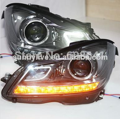 USヘッドライト[右ハンドル・日本仕様]ロービーム2013年?2014年の6000K HIDキットを搭載したメルセデスベンツW For Mercedes-Benz W204 WITH 6000K HID kit in low beam 2013-2014