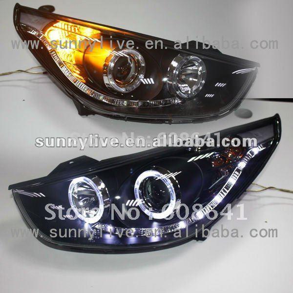 USヘッドライト[右ハンドル・日本仕様]HYUNDAI Tucson IX35 LEDヘッドライトエンジェルアイズV2タイプF For HYUNDAI Tucson IX35 LED Headlight Angel Eyes V2 Type