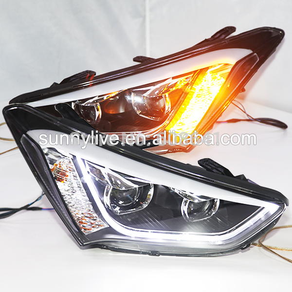 USヘッドライト[右ハンドル・日本仕様]Hyundai New Santa Fe ix45 LEDストリップヘッドライト(Bi 2013-2014 Year for Hyundai New Santa Fe ix45 LED Strip Head Light with Bi Xenon Projector Lens TLZ