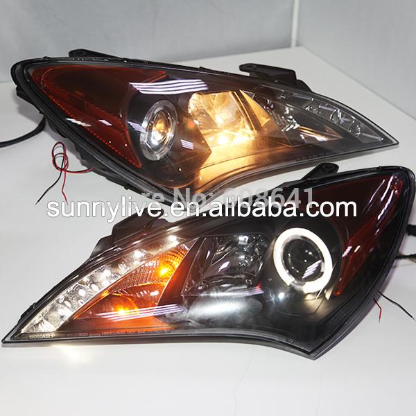 USヘッドライト[右ハンドル・日本仕様]HYUNDAI Rohens 09-12クーペLEDヘッドランプエンジェルアイズSNア For HYUNDAI Rohens 09-12 Coupe LED Head Lamp Angel Eyes SN Amber Reflector