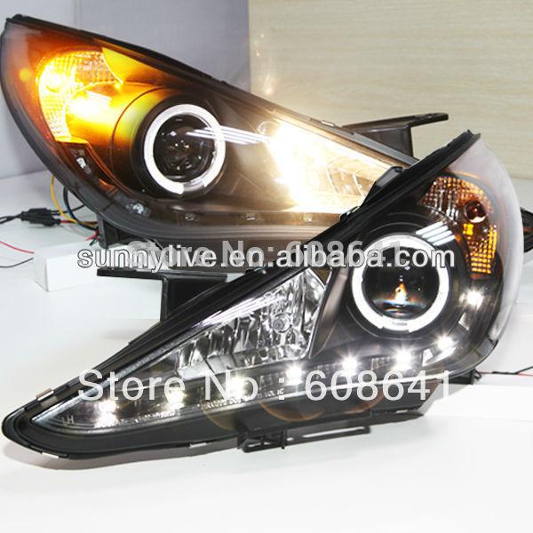 USヘッドライト[右ハンドル・日本仕様]ヒュンダイソナタ用エンジェルアイズLEDヘッドランプ2009-11年ソナV4タイプFo For Hyundai Sonata Angel Eyes LED head lamp 2009-11 year Sona V4 Type