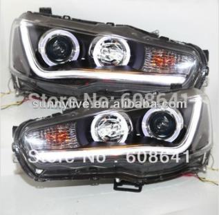 For Mitsubishi Lancer Exceed LED Head Lamp Angel Eyes 08-up YZ V2 Type