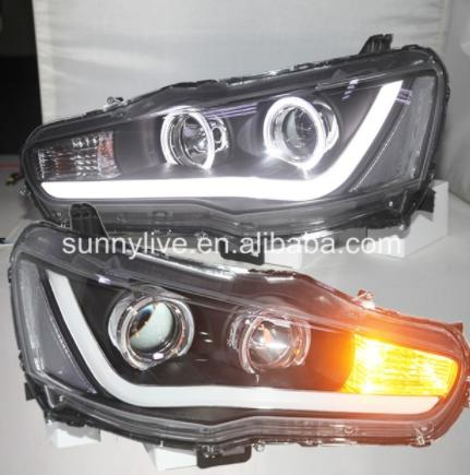 New Style LED Head Lamp Angel Eyes l For Mitsubishi Lancer Exceed 08-up YZ V2 Type