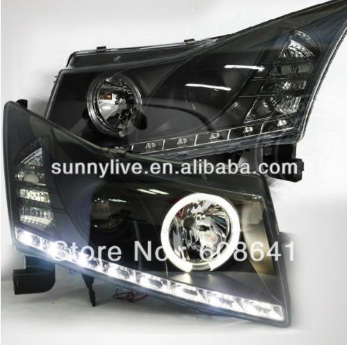 USヘッドライト[右ハンドル・日本仕様]CHEVROLET Cruze LEDヘッドランプのエンジェルアイ2009?2011 For CHEVROLET Cruze LED Head Lamp Angel Eyes 2009 to 2011 V9 Type