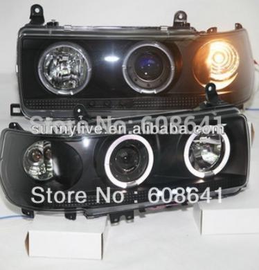 USヘッドライト[右ハンドル・日本仕様]トヨタプラド4500用LC80 FJ80 LEDエンジェルアイズヘッドライト1990- For TOYOTA Prado 4500 LC80 FJ80 LED Angel Eyes Headlight 1990-1997 year Black Color